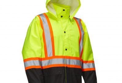 Veste de pluie avec capuchon à bouton pression