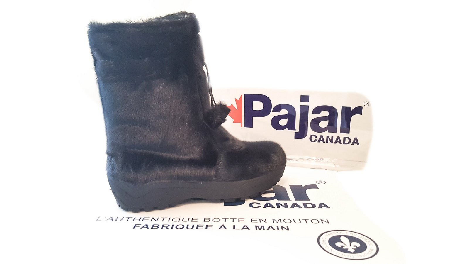 bottes d'hiver pajar alaska en mouton avec crampons noir 1