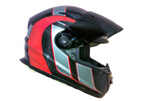 Casque moto intégré fibre de carbone Riot (Rouge)
