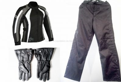 Trio vetements de moto Blouson Gants Pantalon impermeable femme