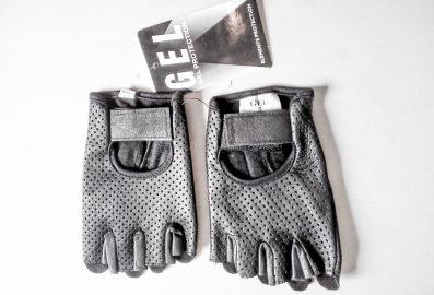 Gants pour motards en cuir avec gel (demi-doigt)