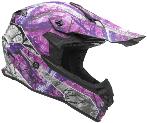 Casque de motocross nouvelle collection VF1 Off Road Pink Skull Camo Graphic