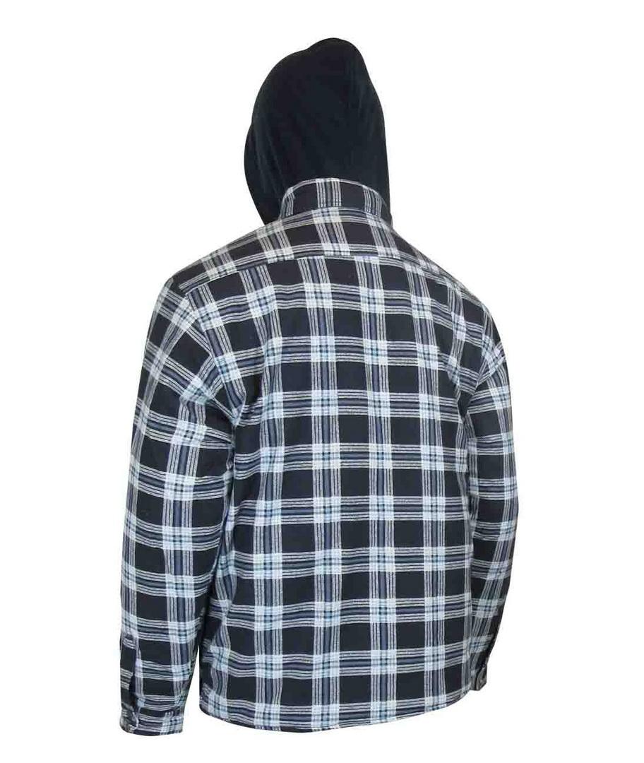Chemise de flanelle doublée piquée avec capuchon et boutons pression antirouilles