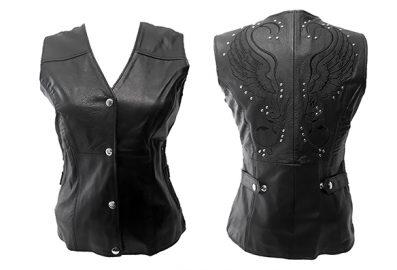 Veste de cuir sans manches avec imprimés au dos
