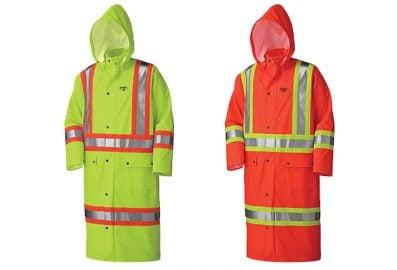 Long manteau imperméable ignifuge haute visibilité en polyuréthane