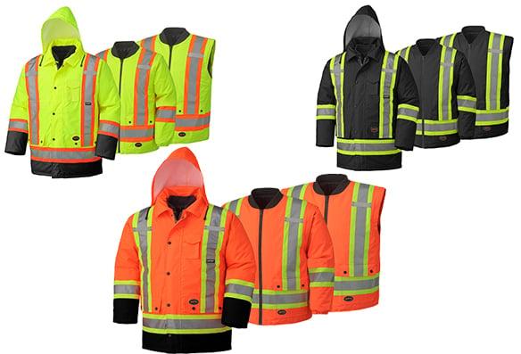 Manteau imperméable et imper-respirant haute visibilité 4en1
