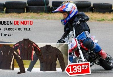 Blouson de moto pour garçon ou fille de 6 à 12 ans.