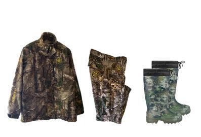 TrioChasseur (camouflage) Veste, pantalons et bottes pour la chasse.