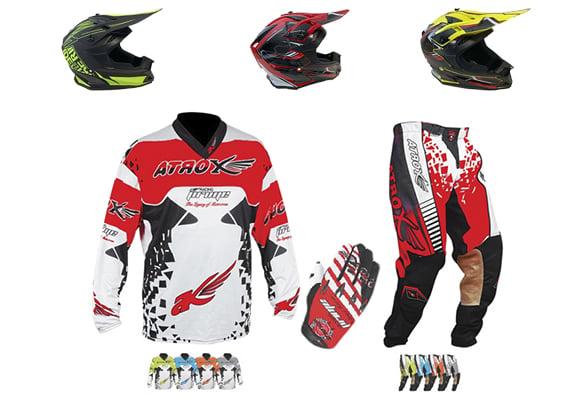 Ensemble de motocross Atrox (Casque, Pantalon, Gilet, Gants)